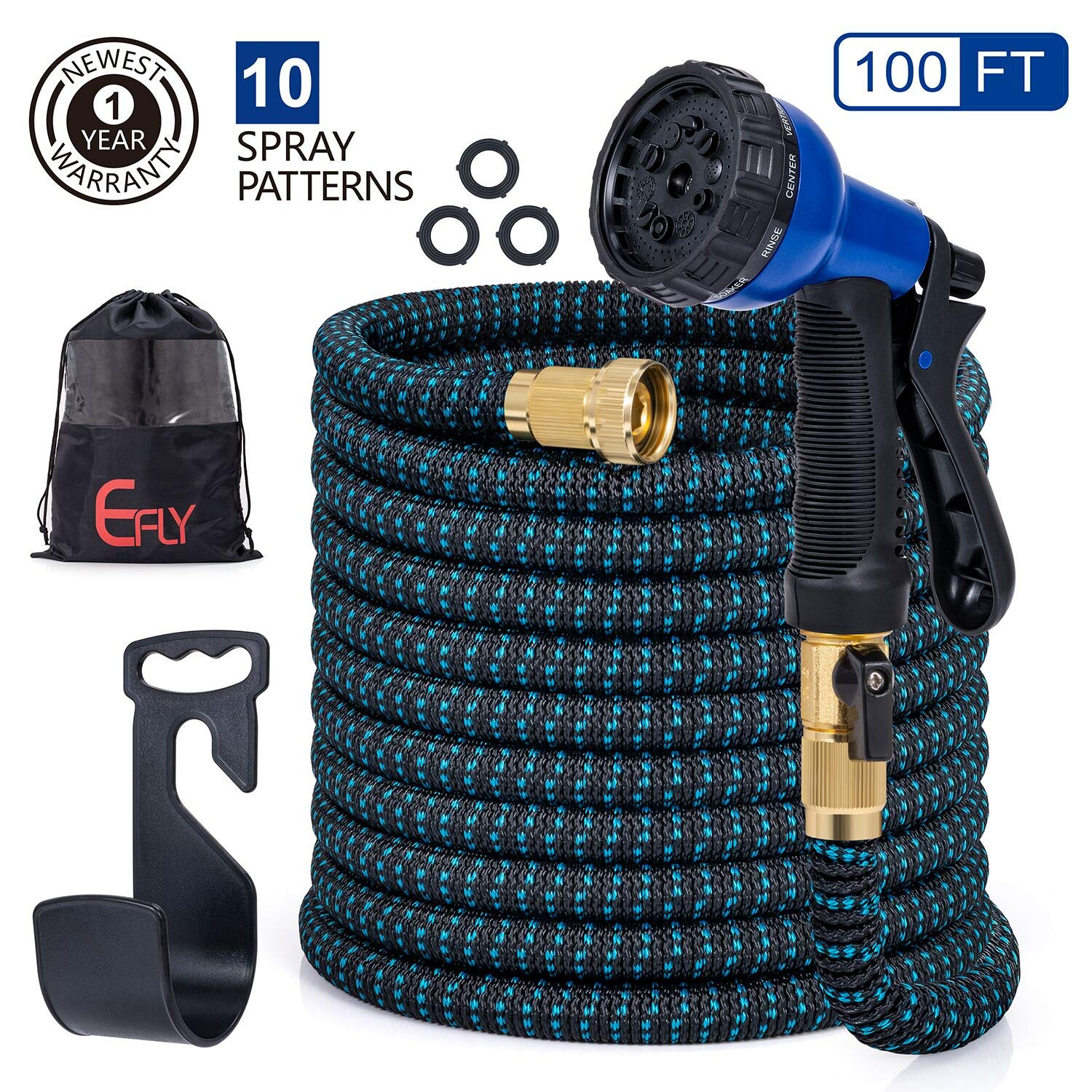 EFLY 2020 New Expandable Garden Hose 100 FT, Water Hose with Double Latex Core/Durable/Flexible/No-Kink/Lightweight/10 Function Spray Hose Nozzle & Bag & Plastic Holder (Blue, 100)