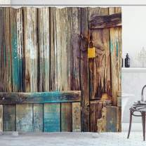 "Ambesonne Rustic Shower Curtain, Aged Shed Door Backdrop with Color Details Country Living Exterior Pastoral Mansion Image, Cloth Fabric Bathroom Decor Set with Hooks, 75"" Long, Brown Teal"