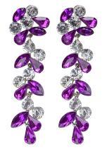 Alilang Bridal Swarovski Crystal Elements Flowers Leaves Dangle Earrings