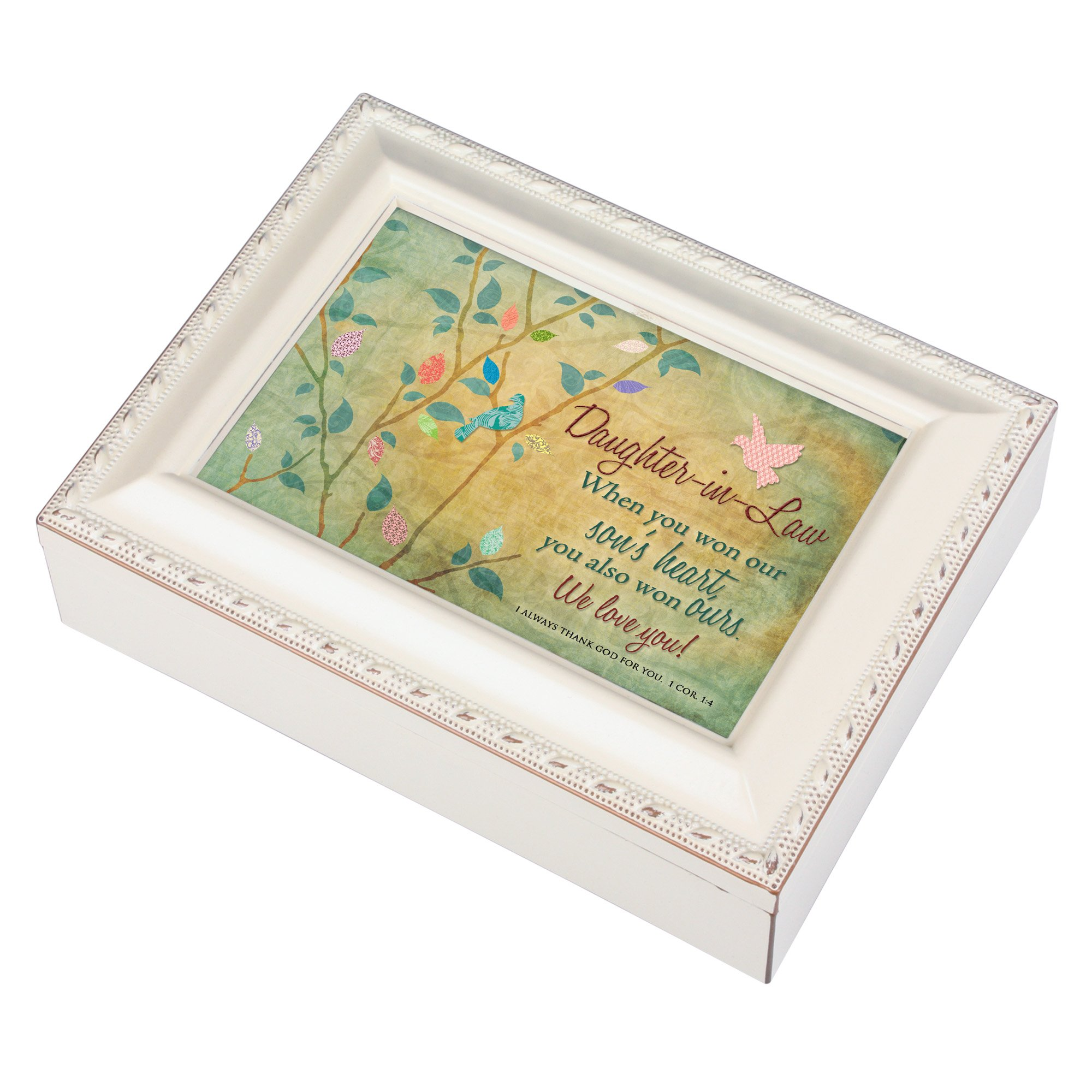 Cottage Garden Daughter-in-Law Won Our Hearts Ivory Rope Trim Jewelry Music Box Plays Ave Maria