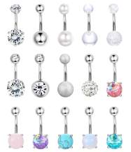Jstyle 15Pcs 14G Belly Button Rings for Women Stainless Steel Button Rings CZ Opal Navel Belly Rings Barbells Body Piercing Jewelry