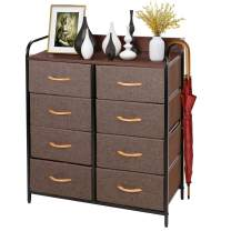 Fabric Drawer Dresser, Wide Storage Dresser with 8 Drawers, Closet Storage Drawers, with Metal Frame, Wooden Top, Easy Pull Fabric Drawers for Closet, Hallway, Nursery
