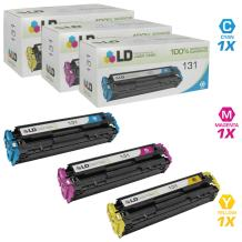 LD Remanufactured Toner Cartridge Replacement for Canon 131 (Cyan, Magenta, Yellow, 3-Pack)