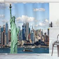 "Ambesonne New York Shower Curtain, Liberty in NYC Harbor Urban City Print Famous Cultural Landmark Picture, Cloth Fabric Bathroom Decor Set with Hooks, 70"" Long, Mint Blue"