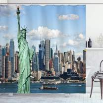 "Ambesonne New York Shower Curtain, Liberty in NYC Harbor Urban City Print Famous Cultural Landmark Picture, Cloth Fabric Bathroom Decor Set with Hooks, 75"" Long, Mint Blue"