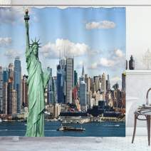 """Ambesonne New York Shower Curtain, Liberty in NYC Harbor Urban City Print Famous Cultural Landmark Picture, Cloth Fabric Bathroom Decor Set with Hooks, 70"""" Long, Mint Blue"""