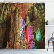 """Ambesonne Natural Cave Shower Curtain, Colorful Geological Cistern Rainwater Harvest Luminous Reflections Picture, Cloth Fabric Bathroom Decor Set with Hooks, 84"""" Long Extra, Yellow Magenta"""