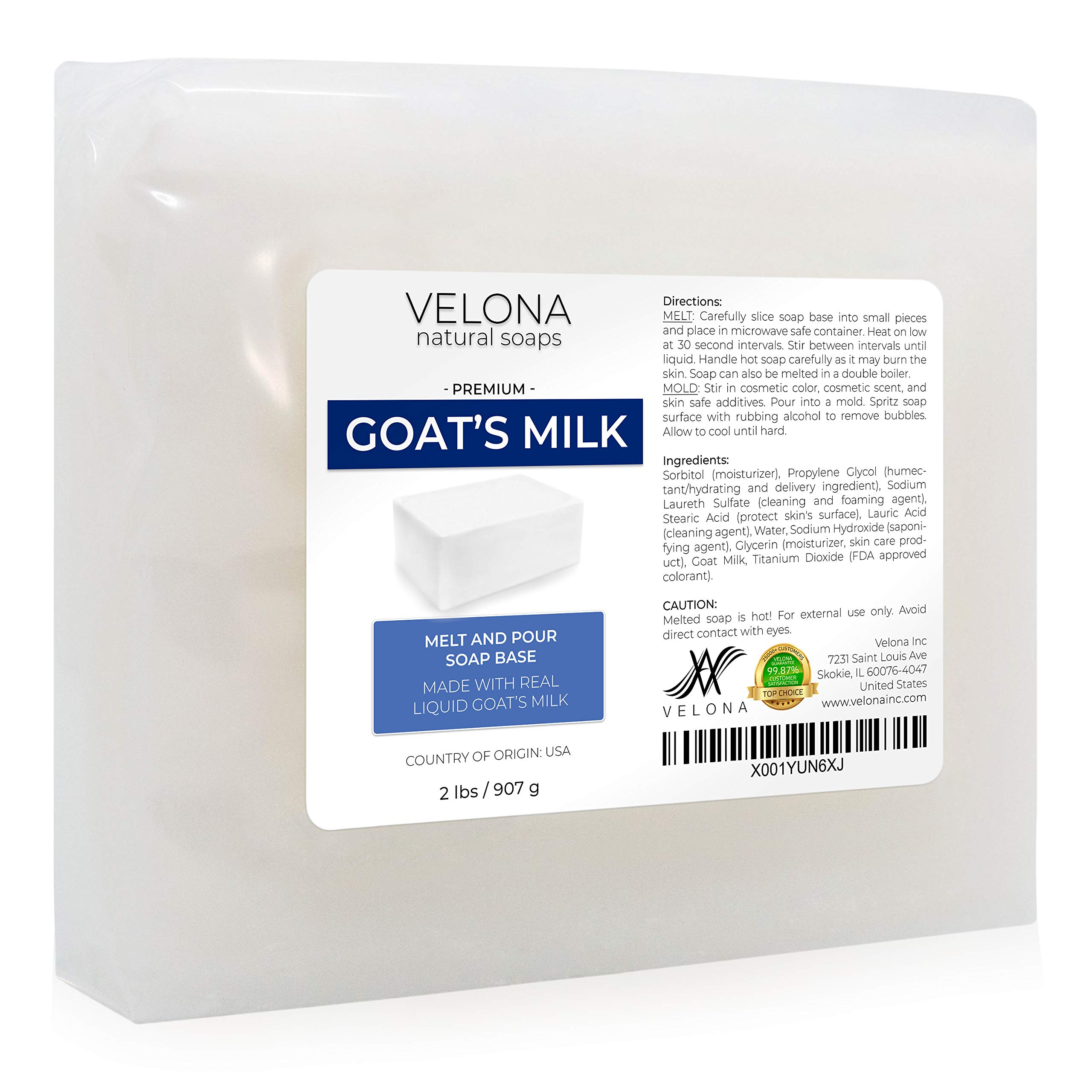 2 LB - GOATS MILK Soap Base by Velona | Melt and Pour | Natural Bars For The Best Result for Soap-making