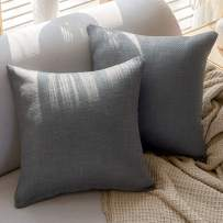 Basic Model Pack of 2 Twill Jacquard Throw Pillow Covers Solid Decorative Pillowcases Square Covers for Couch Sofa 18x18 Inch