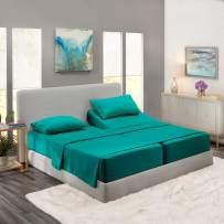 Nestl Bedding 5 Piece Sheet Set - 1800 Deep Pocket Bed Sheet Set - Hotel Luxury Double Brushed Microfiber Sheets - Deep Pocket Fitted Sheet, Flat Sheet, Pillow Cases, Split Cal King - Teal