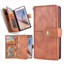 Galaxy J7 2018 Cover, Harsel Magnetic Leather Wallet Purse Kickstand Folio Flip Durable Protective Case with Card Holder Strap for Galaxy J7 Aero Refine Star Crown Eon Aura (Brown)