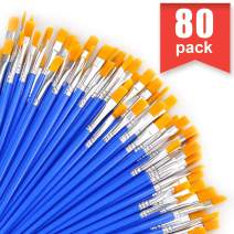AROIC Paint Brush, 80 pcs Nylon Hair Brushes for Acrylic Oil Watercolor Artist Professional Painting Kits