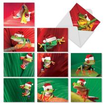 Boxed Set of 10 'Yule Frogs' Blank Christmas Greeting Cards - Christmas Tree Frogs Holiday Notes 4 x 5.12 inch, Froggies in Santa Hats Christmas Cards, Colorful Christmas Frogs Cards M1754XSB