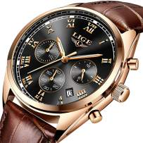 LIGE Mens Watches Mens Luxury Waterproof Date Analog Quartz Watch Gents Fashion Casual Dress Sport Wrist Watch Male Leather Wristwatch, Rose Gold Black
