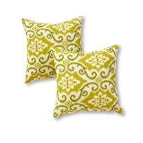 Greendale Home Fashions Outdoor Accent Pillows, Green Ikat, Set of 2