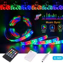 Led Strip Lights Battery Powered,Tenmiro Sync to Music Color Changing Waterproof Strip Light with 20-Key Remote Controller,6.56 ft/2m 5V Battery Case,SMD 3528 120 LEDs,DIY Outdoor Party Romantic Light