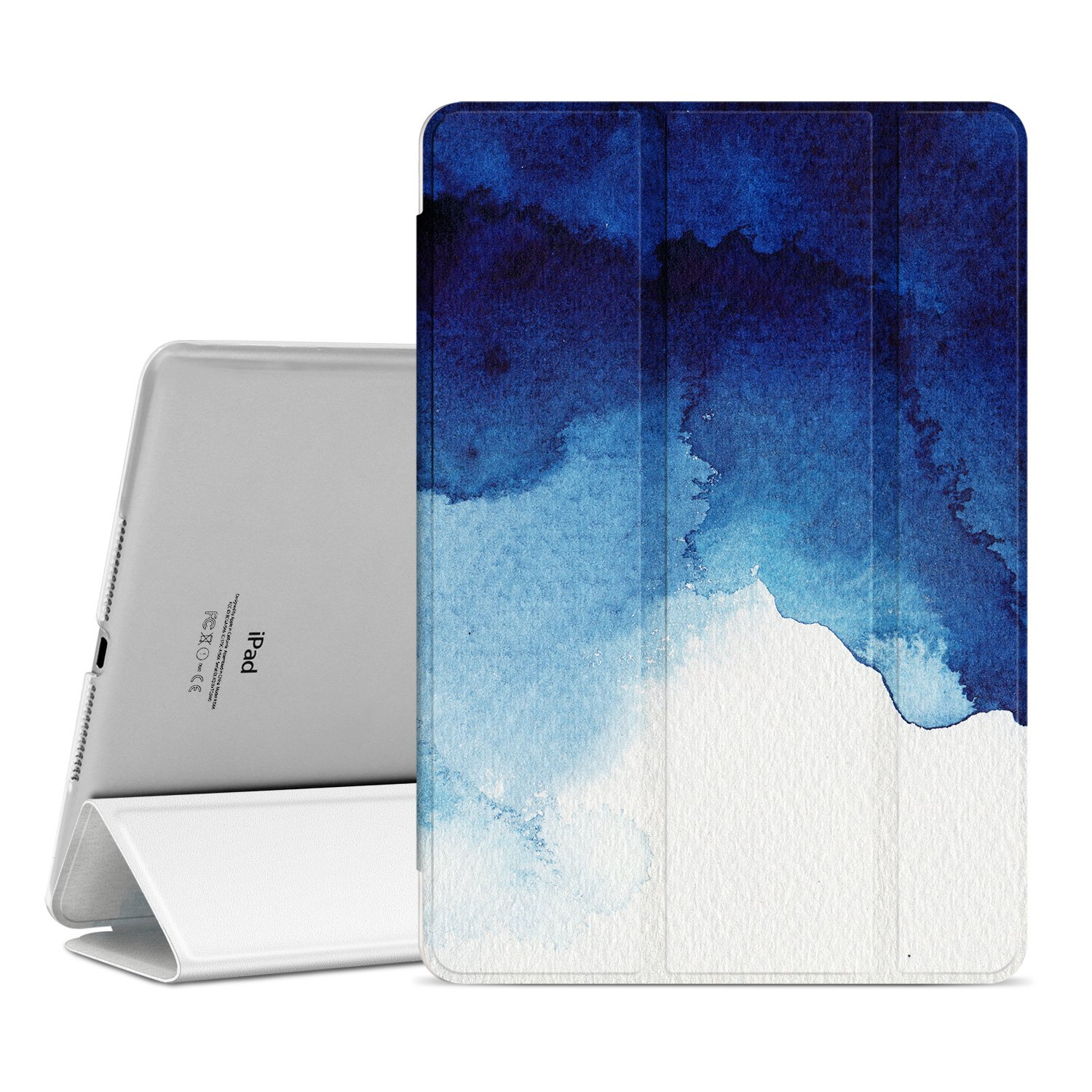 Ayotu New iPad 9.7 inch 2018/2017 Case,Slim Lightweight Auto Wake/Sleep Smart Stand Protective Cover with Translucent Frosted Back Magnetic Case for New iPad 9.7 inch Release Tablet-The Watercolor