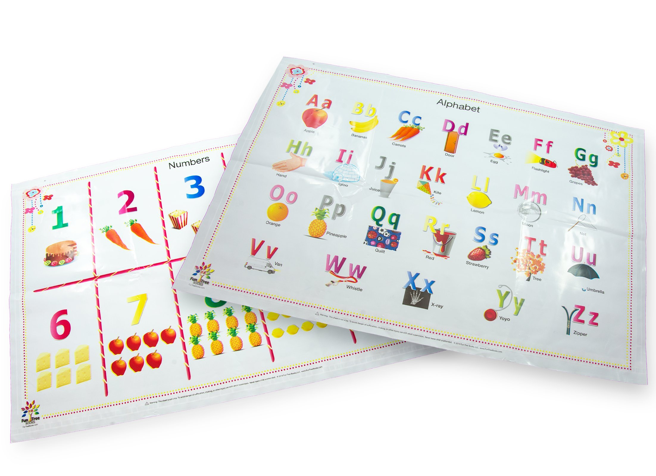 Alphabet & Numbers Table Top Disposable Placemats for Baby and Toddlers 60-Count (2 Designs) BPA Free