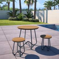 Novogratz 88193CNOE 3 Piece Poolside Bobbi Outdoor Bistro Set, Charcoal Gray