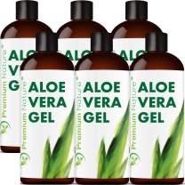 Pure Aloe Vera Gel Lotion- For Face & Dry Skin t Cold Sore Scar After Bug Bite Sunburn Relief Rash Razor Bump DIY Body Lotion Skincare Moisturizer Packaging May Vary (6 Pack)