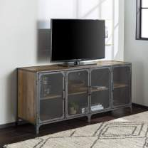"""WE Furniture Industrial Metal Mesh Universal Stand with Cabinet Doors TV's up to 64"""" Flat Screen Living Room Storage Entertainment Center, 60 Inch, Rustic Oak"""
