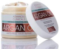 Advanced Clinicals Argan Oil Anti-Frizz Hair Repair Mask. Hydrating Deep Conditioner Makes Frizzy, Color-Treated Hair Shiny & Sikly. Vitamin E & Hyaluronic Acid Strengthen & Repair Weak Hair, 12 oz