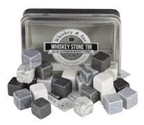 Whiskey & Axe - Premium Set of 24 Whiskey Stones with Storage Tin - Gray Scale