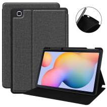 KuRoKo Galaxy Tab S6 lite 10.4 Sleep Case with Pen Holder- Ultra Slim TPU Backshell Folio Stand Cover with Multi-Viewing Angles for Galaxy Tab S6 lite 10.4 SM-P610/P615 (Black)