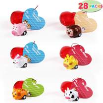 28 Packs Kids Valentine Toys Cars Set Includes 28 Animal Pull Back Cars Filled Hearts and Valentine Cards for Kids Valentine Classroom Exchange, Cute Animal Pull Back Vehicle Toys for Valentine Party Favors, Gift Exchange, Game Prizes and Carnivals Gift