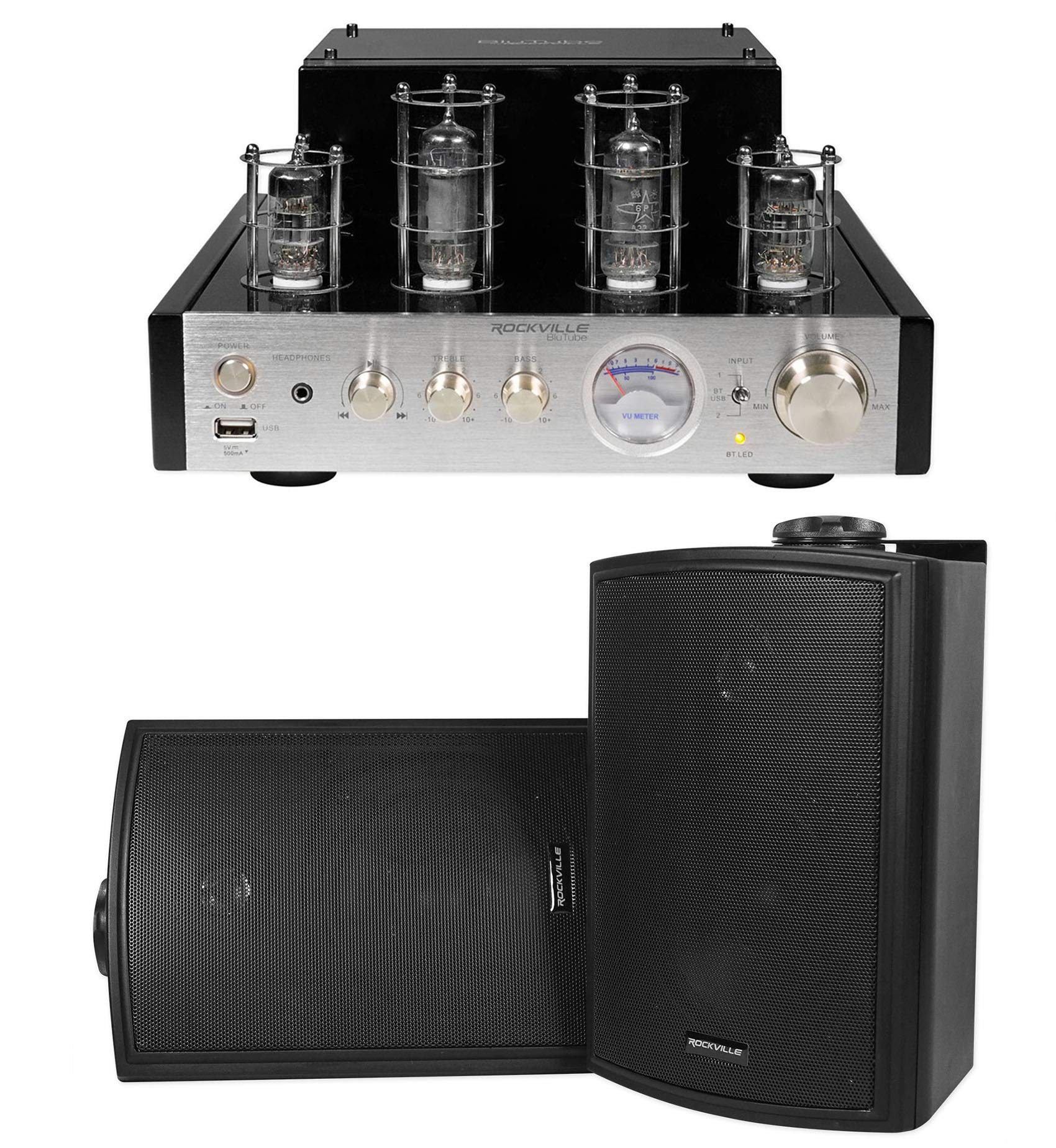 "Rockville BluTube Tube Amplifier/Home Theater Bluetooth Receiver+ 5.25"" Speakers"