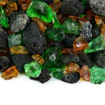 Kilauea Forest - Fire Glass and Lava Rock Blend for Indoor and Outdoor Fire Pits or Fireplaces | 10 Pounds | 3/8 Inch - 3/4 Inch