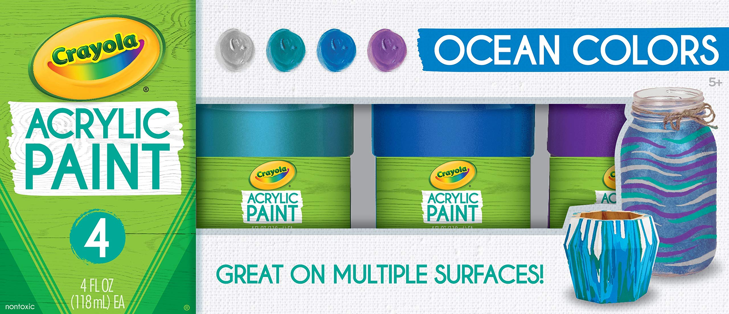 Crayola Paint Set in Ocean Colors, Multi-Surface Craft Paints, Painting Supplies, Stocking Stuffers, 4ct