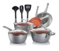 NutriChef Nonstick Cookware Excilon |Home Kitchen Ware Pots & Pan Set with Saucepan Frying Pans, Cooking Pots, Lids, Utensil PTFE/PFOA/PFOS free, 11 Pcs, Gray