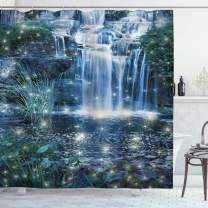 "Ambesonne Magic Shower Curtain, Fairy and Cascade at The Night on The Water Fresh Landscape Image Print, Cloth Fabric Bathroom Decor Set with Hooks, 84"" Long Extra, Grey Green"