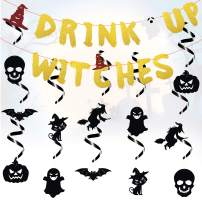 MALLMALL6 Halloween Decorations Glittery Sparkle Drink Up Witches Banner Scary Swirl Decoration Pumpkin Witch Skeleton Creepy Bat Black Cat Ghost Trick or Treat Room Outdoor Decor Party Supplies