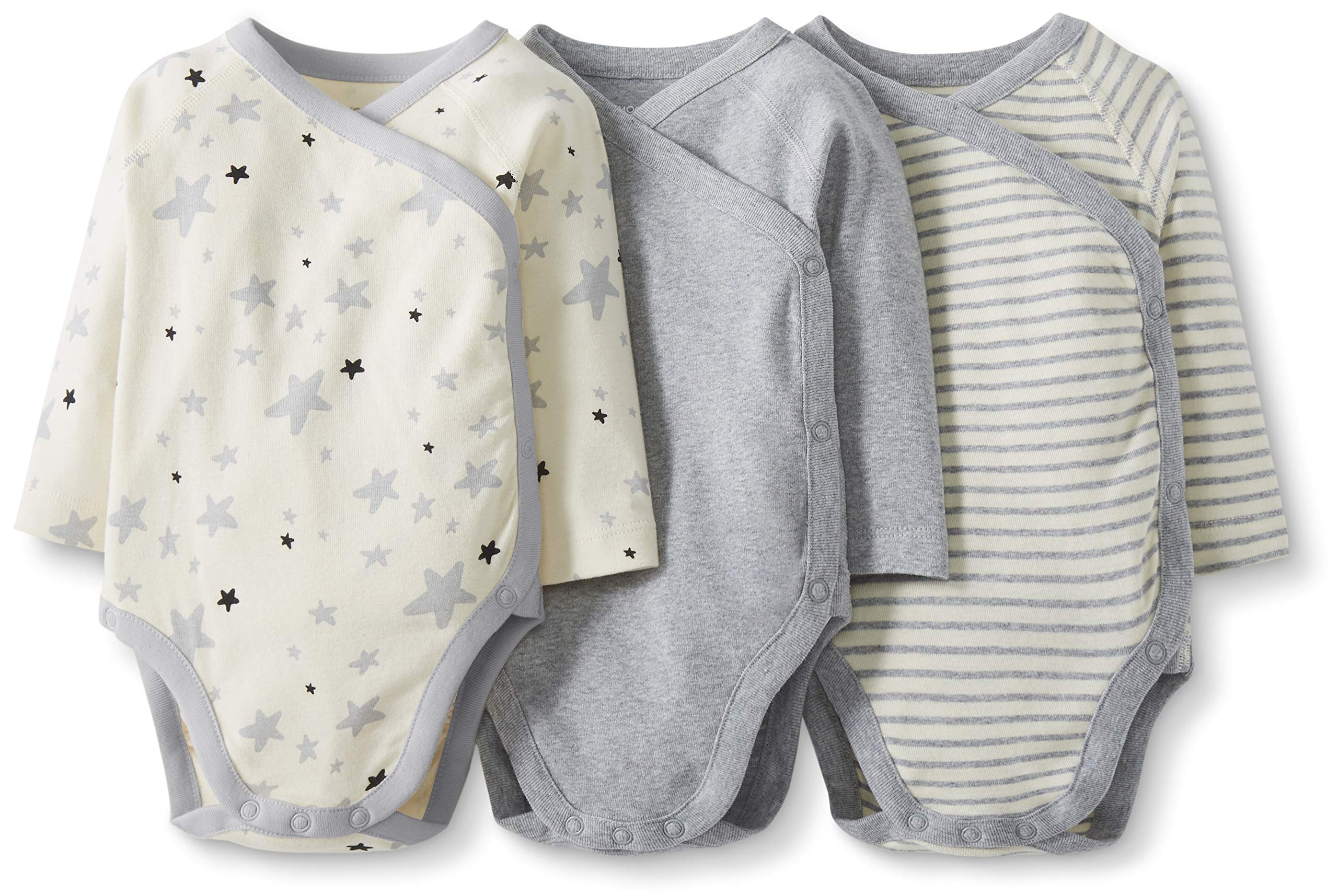 Moon and Back by Hanna Andersson Baby Boys' and Girls' 3 Pack Long Sleeve Side Snap Bodysuit