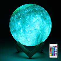 Aodue Galaxy Moon Lamp, 16 Colors Changing LED 3D Galaxy Light Lamp with Wood Stand, Remote and Touch Control, USB Rechargeable Gift for Baby Girls Boys Birthday (7 inch)