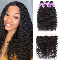 Brazilian 8A Deep Wave Bundles with Frontal Virgin Human Hair Bundles with 134 Free Part Lace Frontal Unprocessed Virgin Human Hair Natural Black (12 14+10)