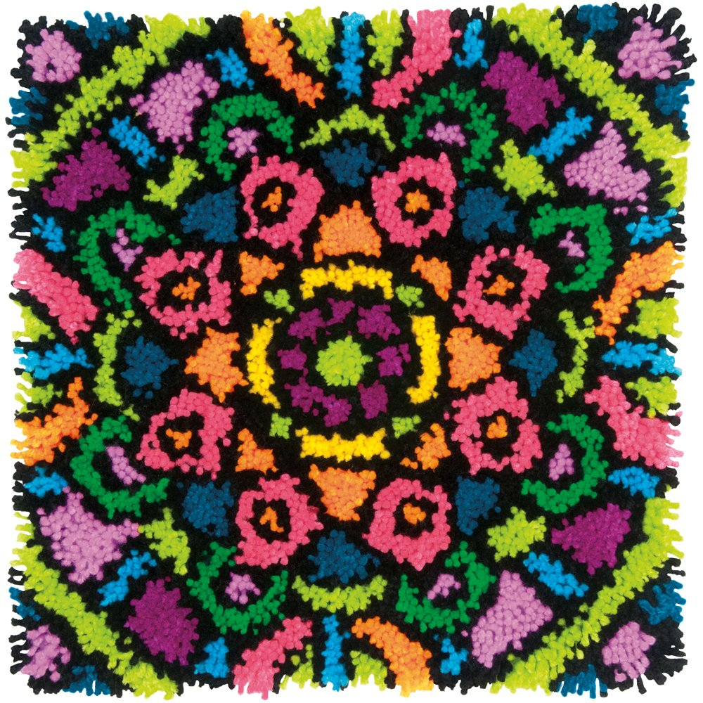 Dimensions Colorful Mandala Latch Hook Craft Kit for Kids, 16'' x 16''