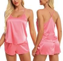 AGFAN Pajama Set Sleepwear Womens Sexy Lingerie Satin Pajamas Cami Shorts Set Nightwear Loungewear