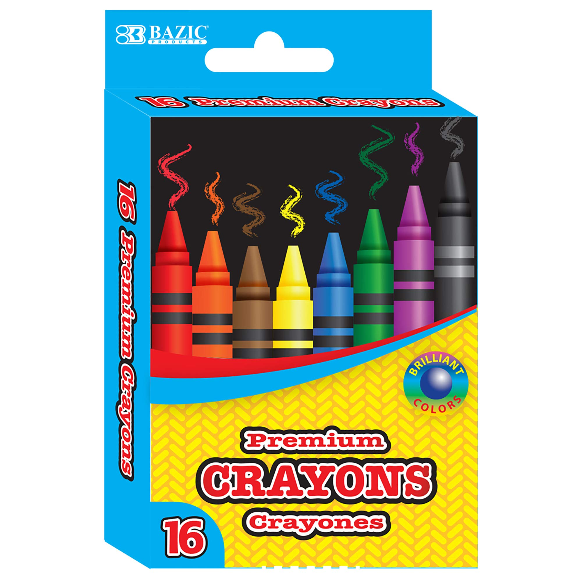 BAZIC 16 Color Premium Crayons, Assorted Washable Coloring Set, School Art Gift for Kids Teens Age 3+ (Box of 24)