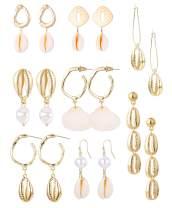 Jstyle 8Pairs Dangle Seashell Earrings for Women Girls Handmade Hawaii Wakiki Beach Summer Earring Drops Earring Set