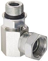 "Eaton Weatherhead 9515X8X8 Carbon Steel Straight Thread O-Ring Adapter, Swivel, 90 Degree Elbow, 1/2"" Female Pipe Swivel x 3/4-16 Male Straight Thread O-Ring"
