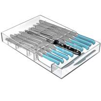 Crostice In-Drawer Acrylic Knife Block,Drawer Store Organizer Tray,Knife Holder,for Your Knife Sharpener(Knives and Sharpener not included)