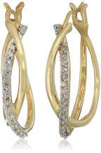 Jewelili 10kt Gold Diamond Hoop Earrings (1/4 cttw)