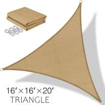 BOLTLINK Triangle Sun Shade Sail 16'x 16'x 20'Canopy UV Block for Patios Outdoor Backyard Garden Deck -Sand
