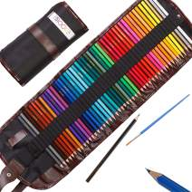 Moore - Premium Art Color Pencils Set of 48 pcs Pre-Sharpened Vibrant Colors For Adults and Kids, with Free Kum Alloy Metal Sharpener in a Canvas Roll up Case