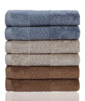 Cleanbear Cotton Washcloths Bath Wash Cloth Set(13 x 13 Inch), 6-Pack 3 Colors