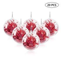 """Uten 20Pcs DIY Ornament Balls Christmas Decorations Tree Ball 3.94""""/100mm Clear Fillable Baubles Craft for New Years Present Holiday Wedding Party Home Decor"""