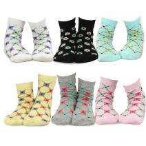 TeeHee (Naartjie) Kids Girls Cotton Fashion Fun Crew Socks 6 Pair Pack (6-8 Years, Floral Trellis Stripe)